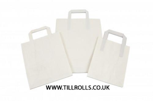 "12"" x 5.25"" x 16"" White Kraft SOS Paper Carrier External Tape Handle - 304477"