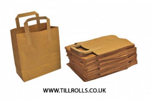 """10.25"""" x 5.25"""" x 12"""" Brown Kraft Carrier Bag External Tape Handle - 304457"""